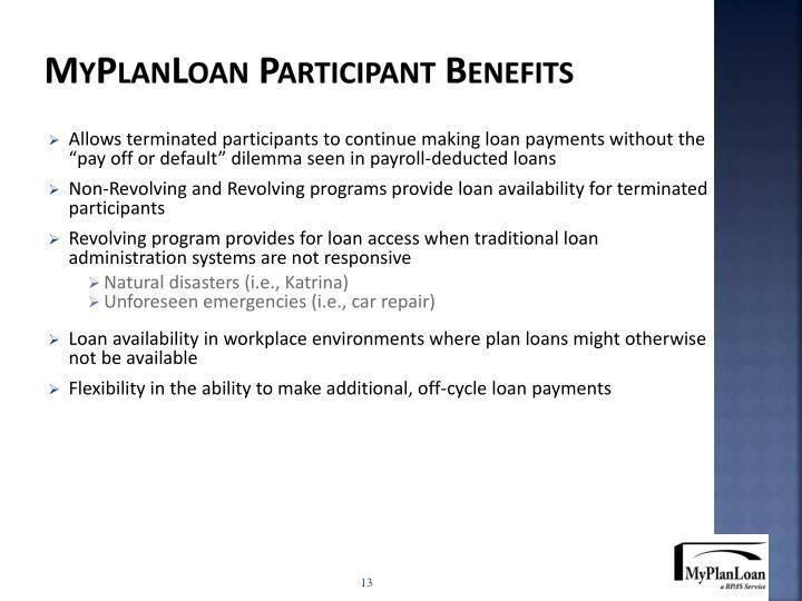 MyPlanLoan Participant Benefits