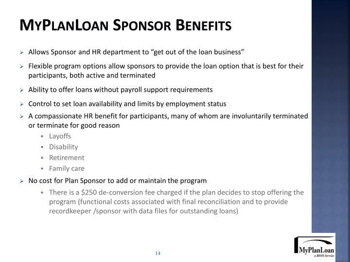 MyPlanLoan Sponsor Benefits