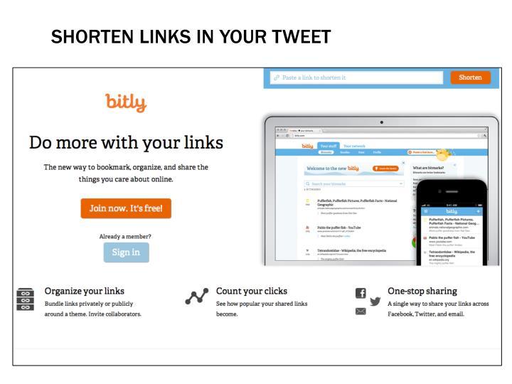 Shorten links in your tweet
