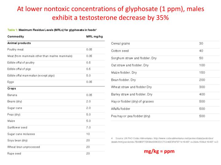 At lower nontoxic concentrations of glyphosate (1 ppm), males exhibit a testosterone decrease by 35%