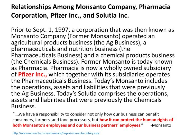 Relationships Among Monsanto Company, Pharmacia Corporation, Pfizer Inc., and Solutia Inc.