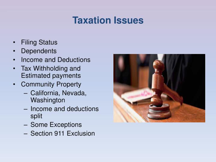 Taxation Issues