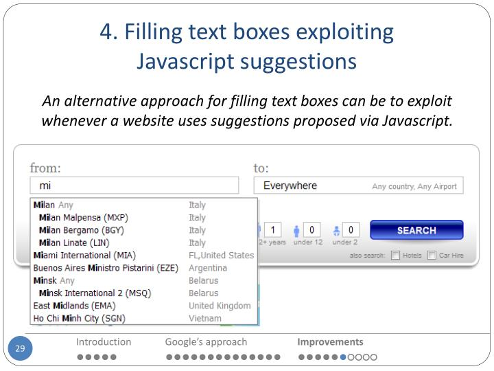 4. Filling text boxes exploiting
