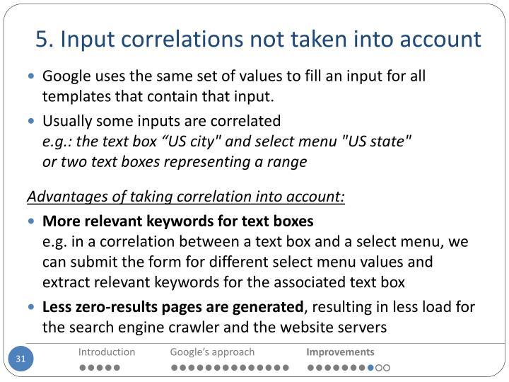 5. Input correlations not taken into account