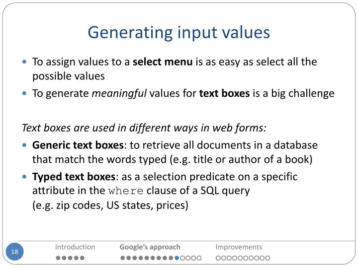 Generating input values
