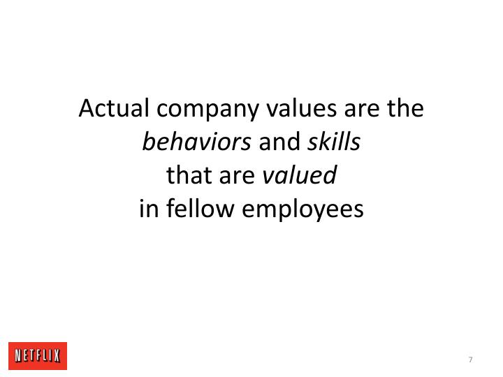Actual company values are the