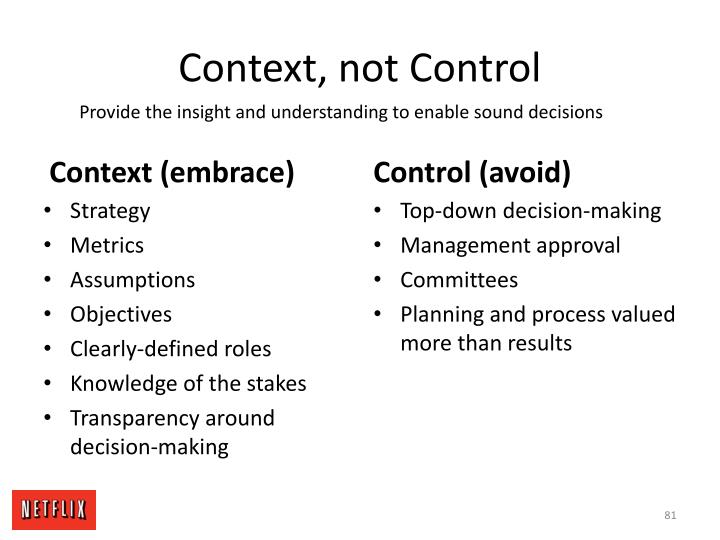 Context, not Control