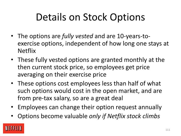 Details on Stock Options