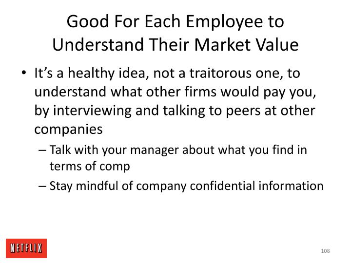 Good For Each Employee to Understand Their Market Value