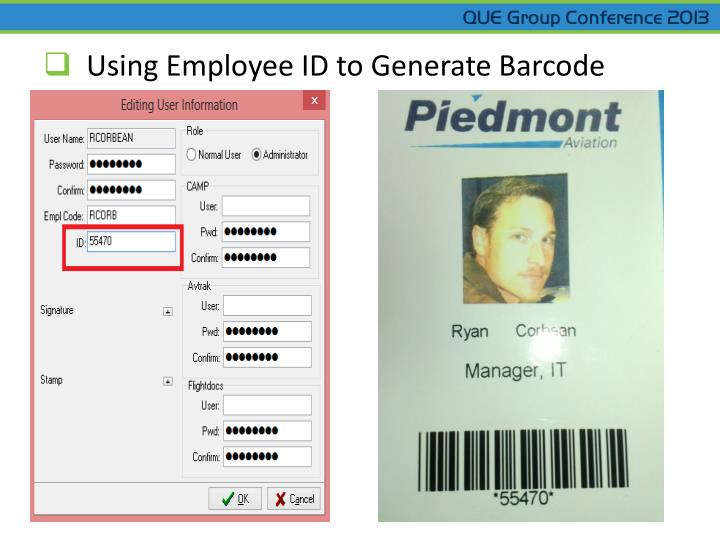 Using Employee ID to Generate Barcode