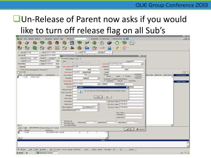 Un-Release of Parent now asks if you would like to turn off release flag on all Sub's
