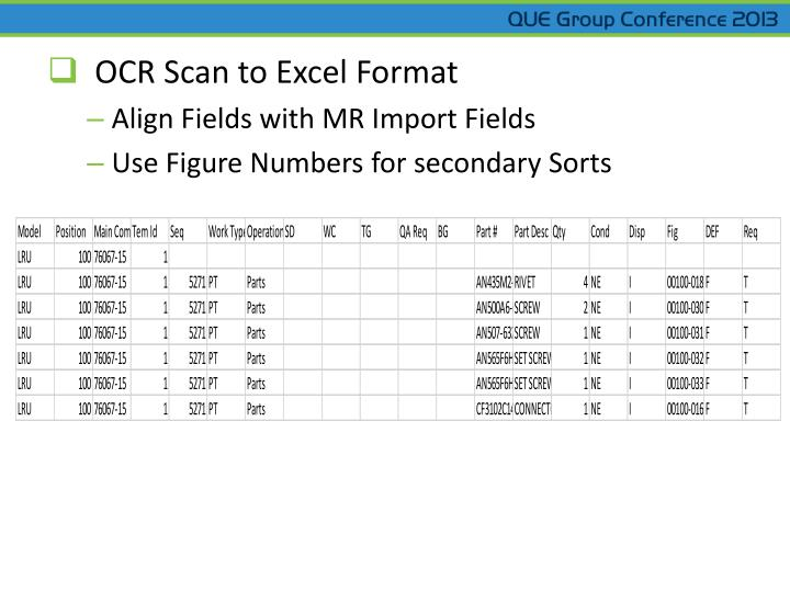 OCR Scan to Excel Format
