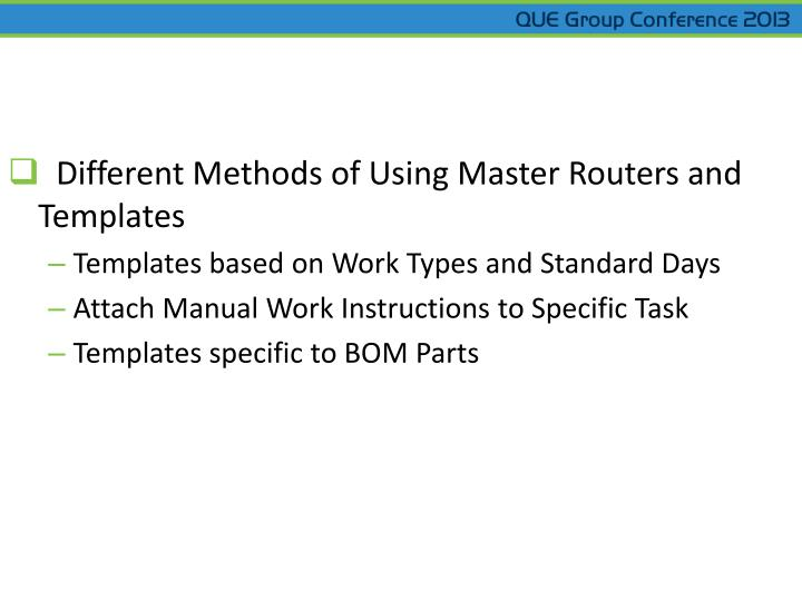 Different Methods of Using Master Routers and Templates