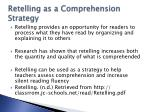 retelling as a comprehension strategy