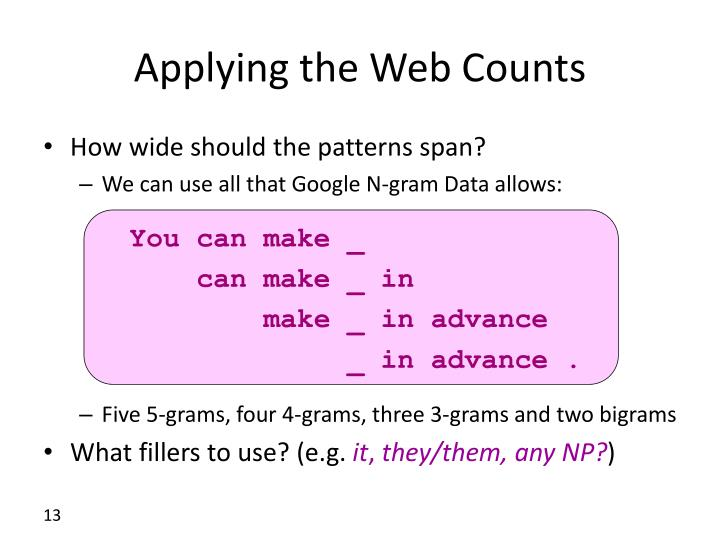 Applying the Web Counts