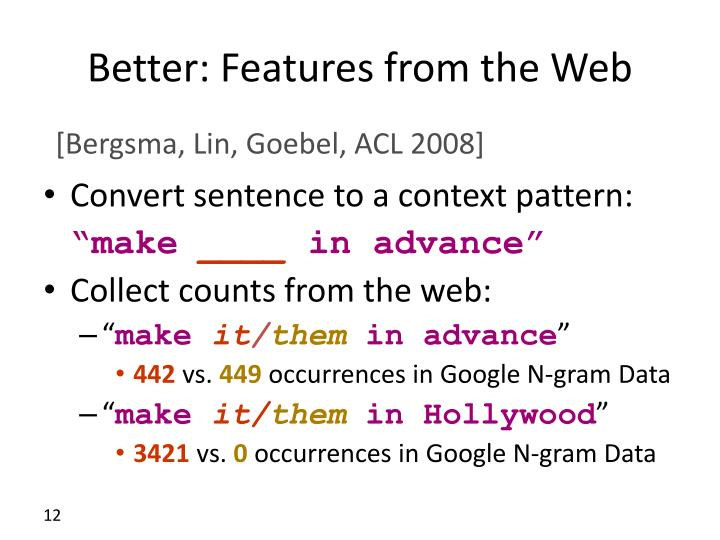 Better: Features from the Web