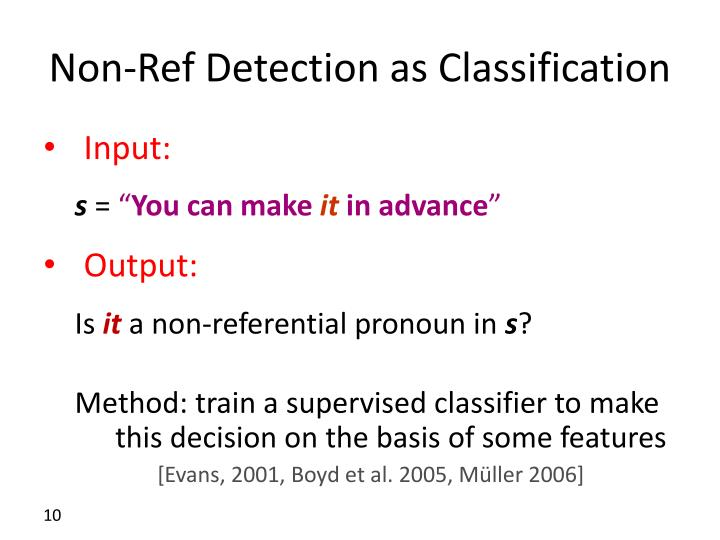 Non-Ref Detection as Classification