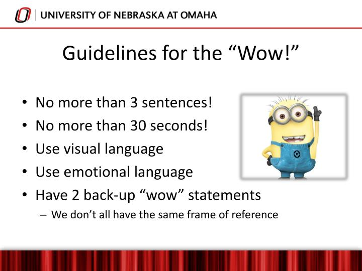 "Guidelines for the ""Wow!"""