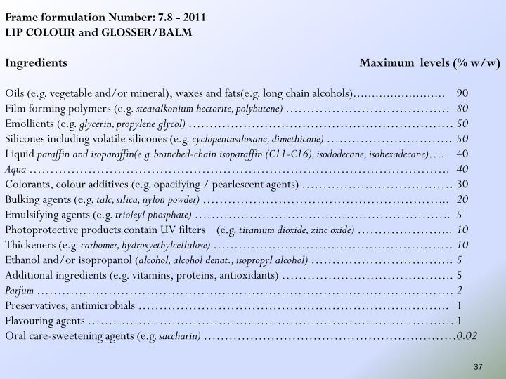 Frame formulation Number: 7.8 - 2011