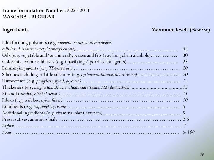 Frame formulation Number: 7.22 - 2011