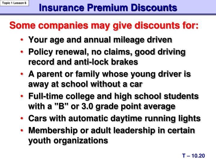 Insurance Premium Discounts