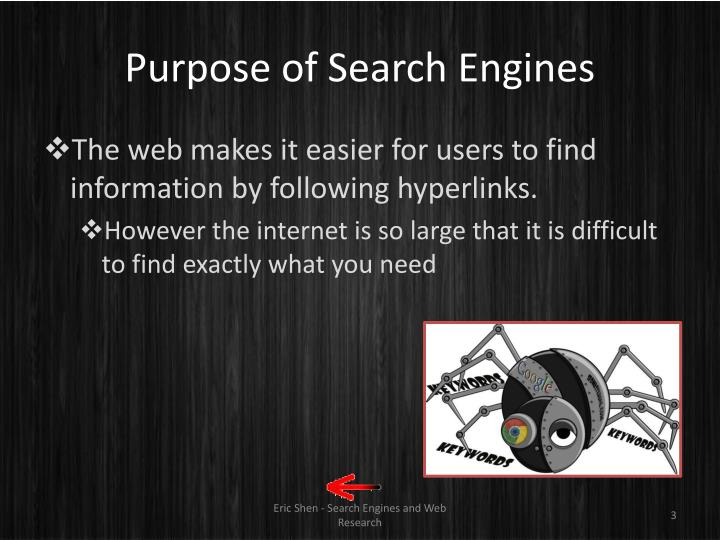 Purpose of search engines