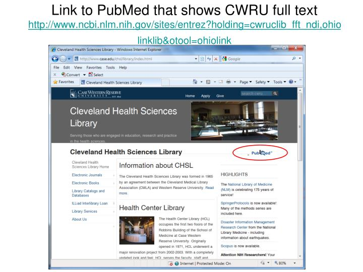 Link to PubMed that shows CWRU full text