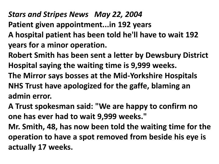 Stars and Stripes News   May 22, 2004