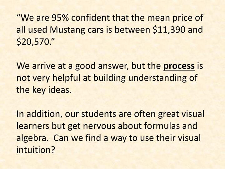 """We are 95% confident that the mean price of all used Mustang cars is between $11,390 and $20,570."""