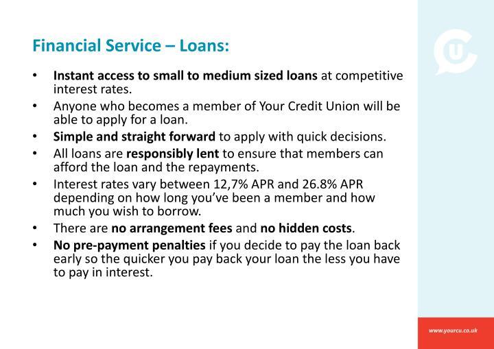 Financial Service – Loans: