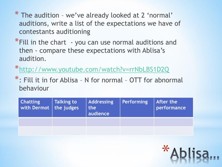 The audition – we've already looked at 2 'normal' auditions, write a list of the expectations we have of contestants auditioning