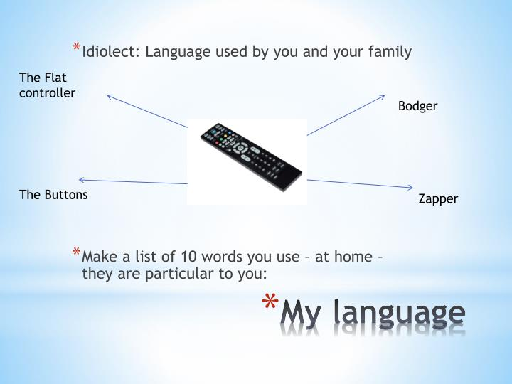 Idiolect: Language used by you and your family