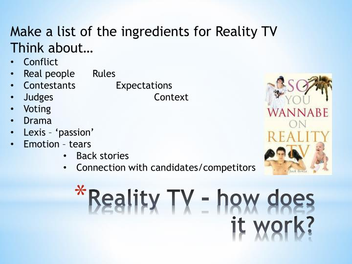 Make a list of the ingredients for Reality TV
