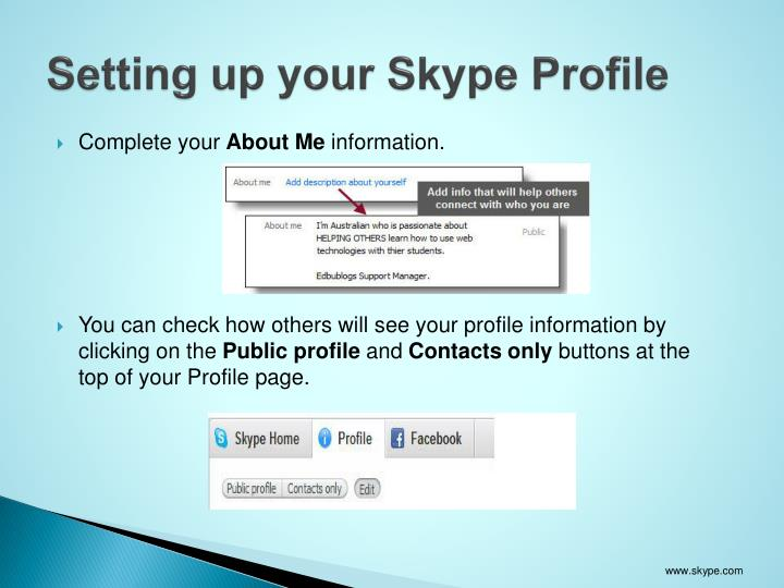 Setting up your Skype Profile