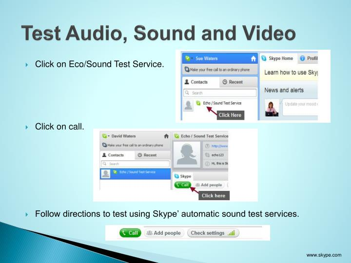 Test Audio, Sound and Video