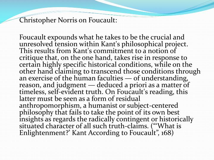 Christopher Norris on Foucault: