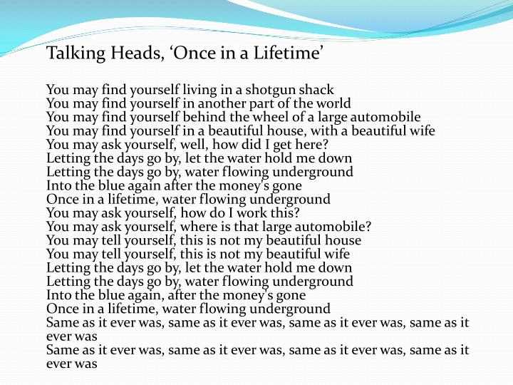 Talking Heads, 'Once in a Lifetime'