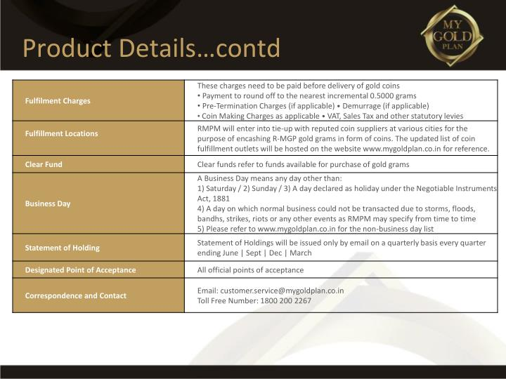 Product Details…contd