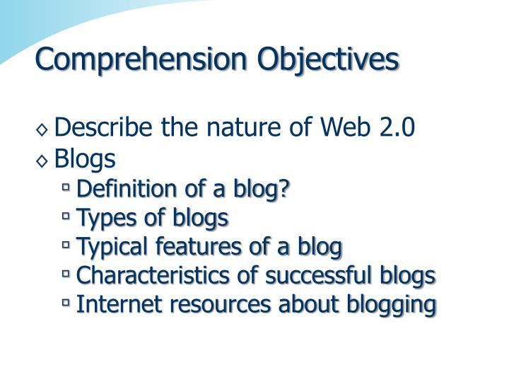 Comprehension Objectives
