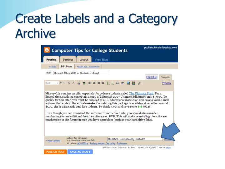 Create Labels and a Category Archive