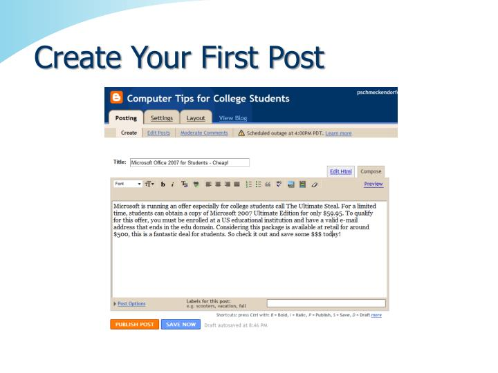 Create Your First Post