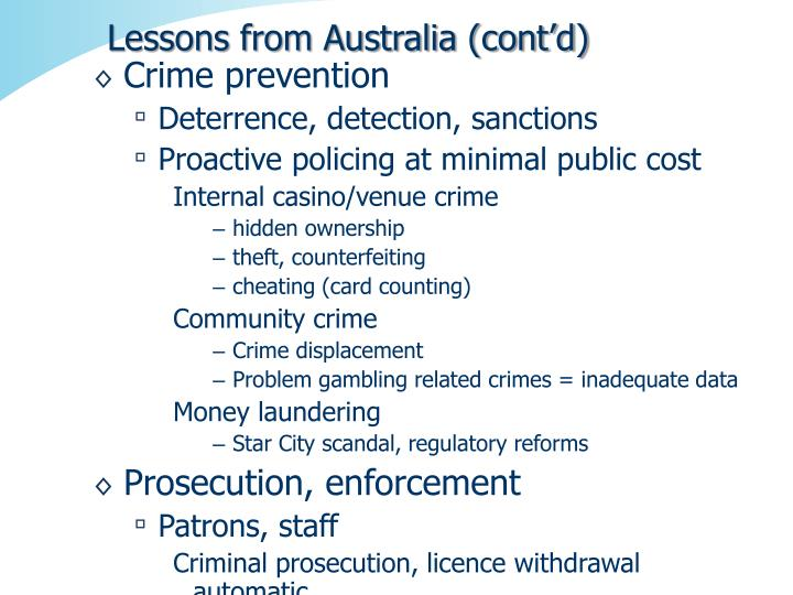 Lessons from Australia (cont'd)