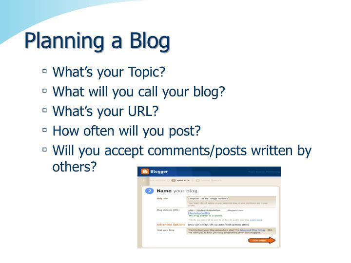 Planning a Blog