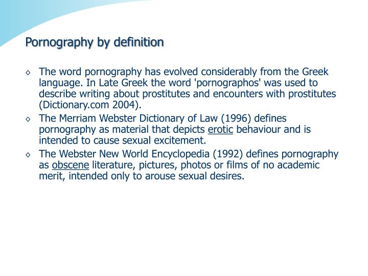 Pornography by definition