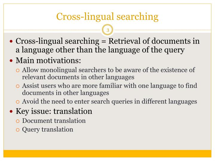 Cross lingual searching