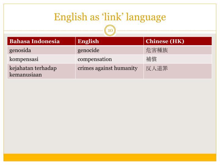 English as 'link' language