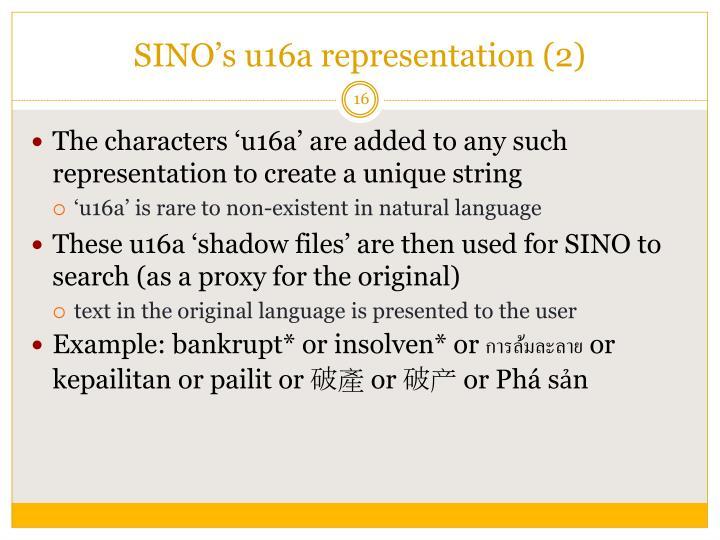 SINO's u16a representation (2)