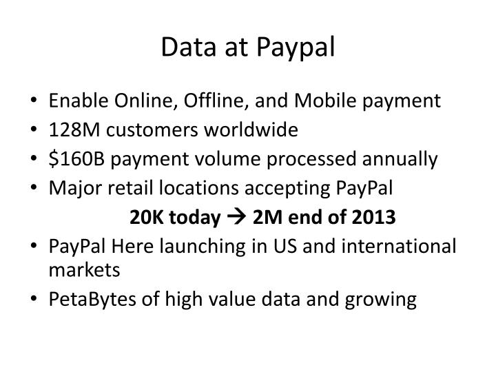 Data at paypal