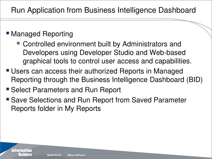 Run Application from Business Intelligence Dashboard