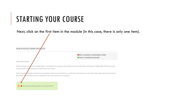 Starting your course